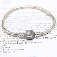 Signature Sterling S925 Silver Bracelet for European Bracelets DIY Making