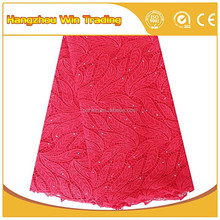 Red african cord big lace fabrics high quality 2016 discount china product 5 yards