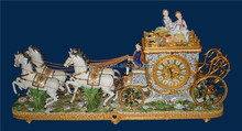 European Antique Luxury Horse-Drawn Ceramic Table Clock, Ornate Ceramic Carriage, Gold Plated Brass Mounted Pony Car Table Clock
