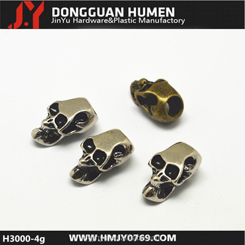 Dongguan Jinyu paracord accessories metal beads alloy skull beads wholesale