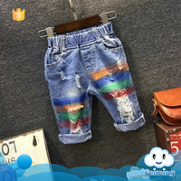 2016 latest summer printed rainbow jeans design kids cool pants brand cheap fashion girls jeans for wholesale