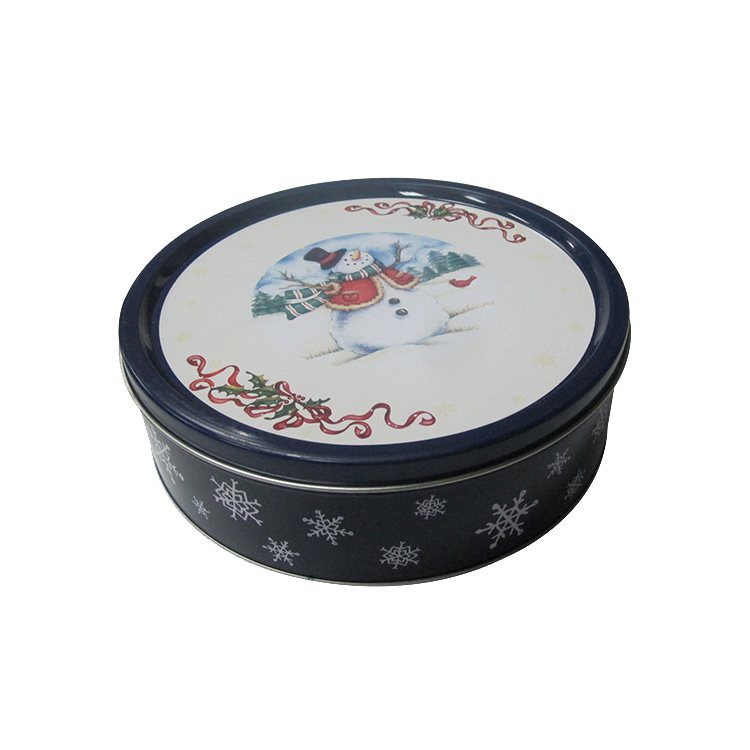 Custom Made Printed Decorative Christmas Round Metal Candy Tin Box