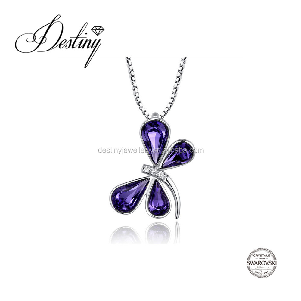 Destiny Jewellery Factory direct sale wholesale Green, spanning the butterfly Pendant Embellished with crystals from Swarovski