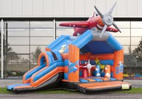 Commercial grade hot sale cartoon helicopter inflatable combo for backyard games