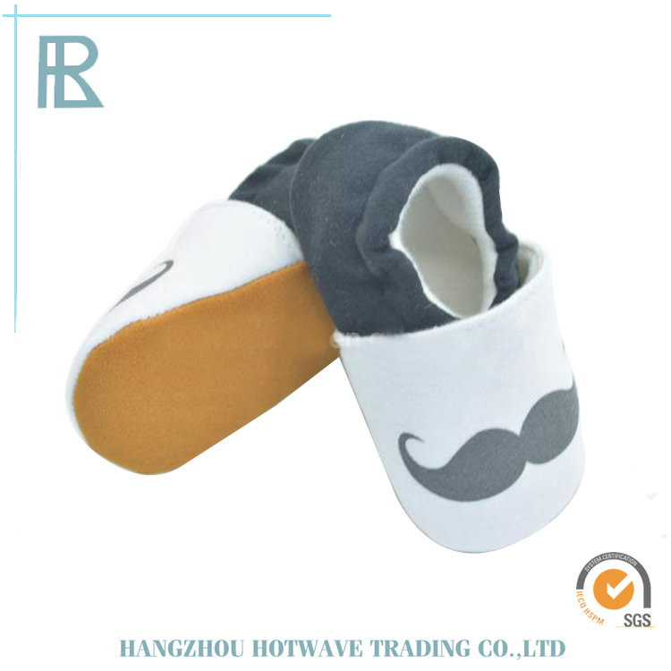 Wholesale Fashion Kids Child Soft Gray and White Base Cloth Baby Cotton Shoes With Beard Pattern