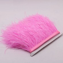 hot sale cheap dyed natural ostrich feather trims fringe for skirt/dress/costume real ostrich feather trimming