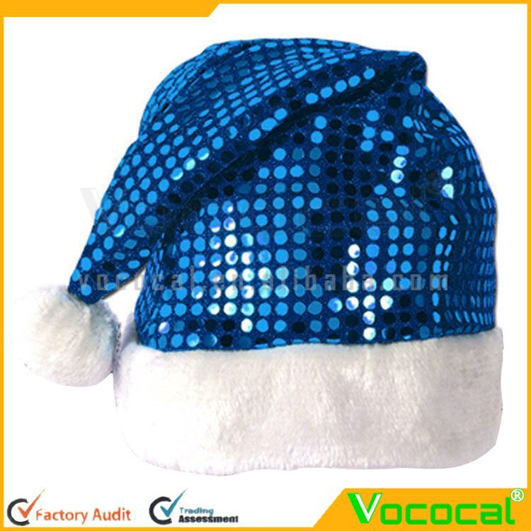 Santa Claus Hat Christmas Fleece Cap Sequins Ornamented Blue
