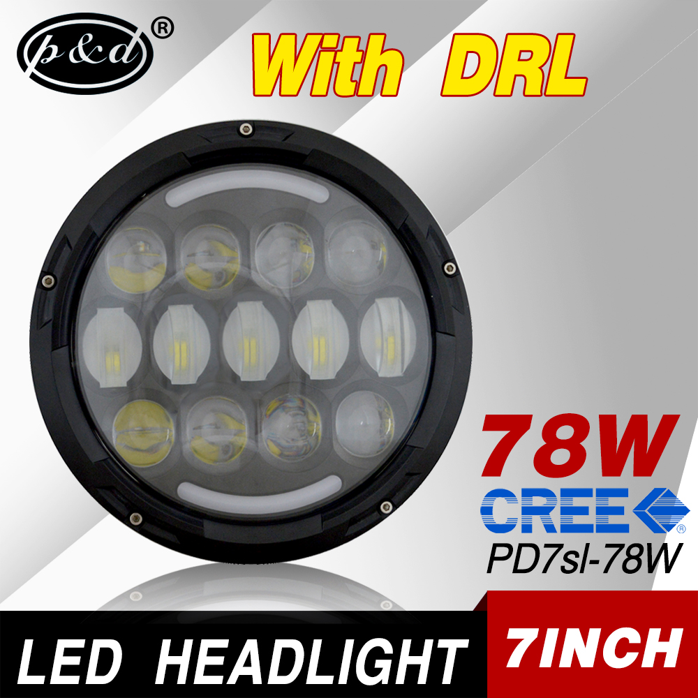 DOT approval 7 inch round 78w car led headlight for jeep wrangler jk
