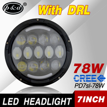 DOT approval 7 inch round 78w cre e car led headlight for jeep wrangler jk