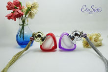 FMS013 6ML Wholesale Colored Heart Of The Ocean Shape With Rope Glass Refill Empty Car Perfume Diffuse Hanging Bottle