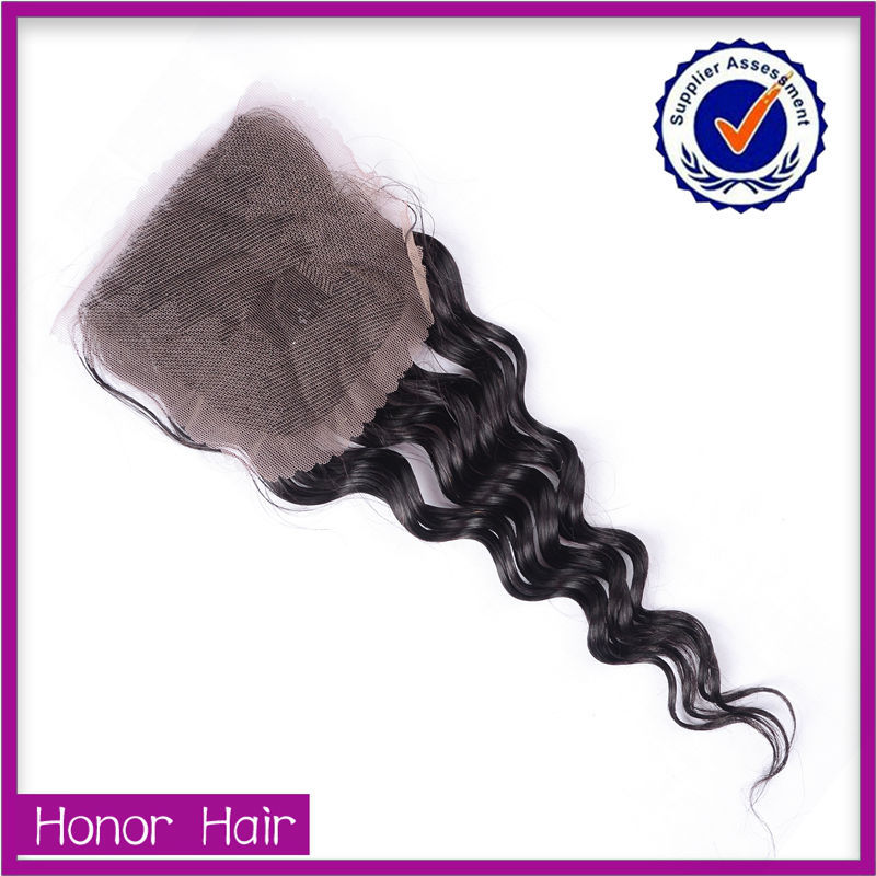 New arrval cheap high quality middle part deep wave silk base lace closure