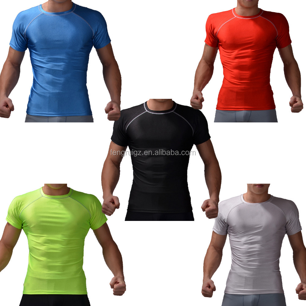 Wholesale fitness apparel manufactures compression clothes running wear men sublimation shirt