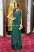 Alluring 2014 Green One-Shoulder Chiffon Beaded Lace Long Evening Gown The 86th Academy Awards Louise Roe Celebrity Dress NB0337