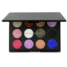 2017 new 12 color high pigment powder eyeshadow private label makeup no brand glitter eyeshadow palette