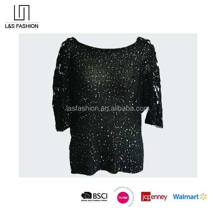 2017 Spring Ladies' Black Lace Sweater with Sequin and Short Sleeves