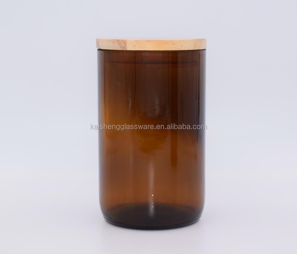 Wholesale amber glass candle jar with lid for candle making