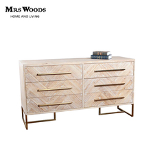 High quality industrial parquet wood 6 drawer Sideboards