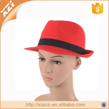 Red polyester hat panama trilby fedora hat black ribbon decoration hat