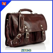 Genuine Leather Mens Messenger Bag business briefcase Dark Brown Fashion Leather Bags wholesale high quality