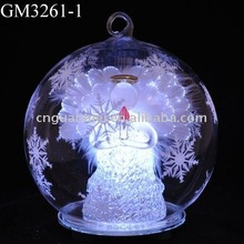 LED light up angel with optic fiber wing inside chrismtas ball