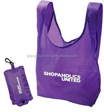 Hot sale best quality custom reusable promotional folding foldable polyester shopping bag wholesale