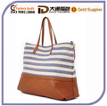 2016 Stripe Canvas Tote Handbag with Wash Gold