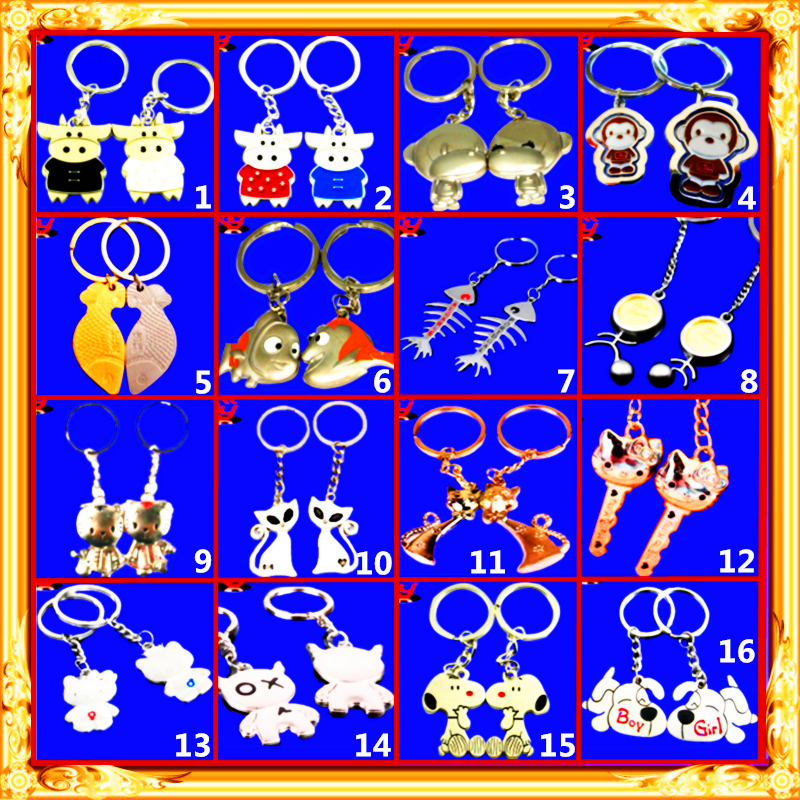 wholesale metal Cartoon goldfish Small fish bone barb heart cat key cow monkey Andy snoopy dog couple keychain/key <strong>chain</strong>