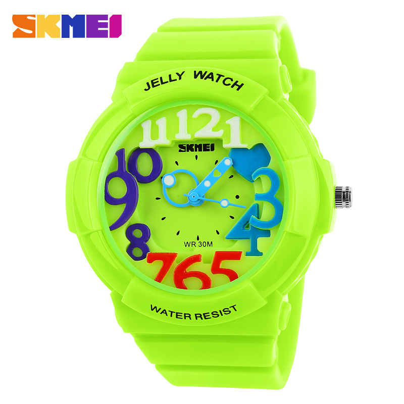 skmei brand with new design mix colored Arab numbers face fashion sports watch 3ATM Waterproof SKMEI 1042 Jelly Analog watches