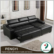 Black leather bed sofa/sofa leather sofa bed/l shape sofa cum bed PY1005