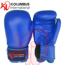 Blue Boxing Gloves In Leather, Blue Boxing Sparring Gloves In Genuine Leather, PU Injected Boxing Gloves
