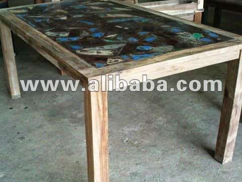 Reclaimed Teak Dining Table 180 with Mosaic Style on Top
