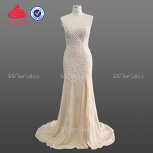 Latest Design Champagne Colored Sexy See Through Heavy Sequined Beaded Skin Tight Closed Back Evening Dress 2018