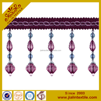 curtain and lampshade polyester glass beaded fringe