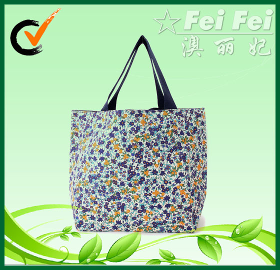 10oz canvas pretty Floral printing handbags for ladies canvas bags