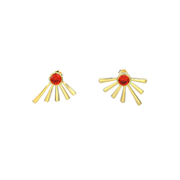 2017 Wholesale OEM Design Good Quality Hot Selling Gold Plated 925 Silver Red Zircon Stud Earrings