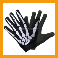 Synthetic Leather Skeleton Bone Mechanic Gloves