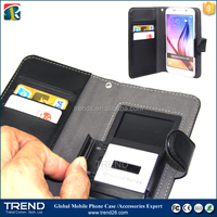 UL005-5.1 inch magnetic universal pu wallet leather case for samsung with two card slots