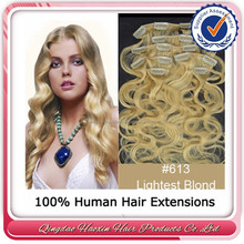 Qingdao howshine clip in light blonde 613 peruvian human hair extention
