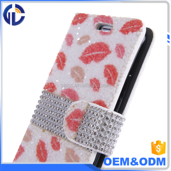 custom diamond luxury flip wallet leather phone case for LG Aristo 2