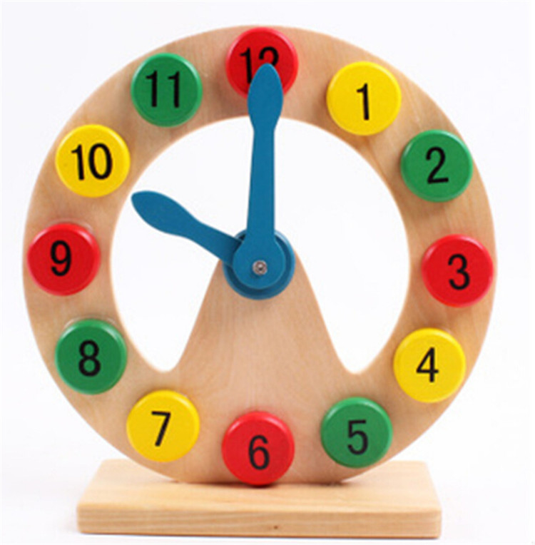 FQ brand Educational Kids wooden puzzle set toy,Learning Number and Time Wooden Clock Puzzle,Wooden toy puzzle alarm clock