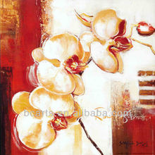 High quality beautiful modern simple flower oil painting butterfly orchid canvas
