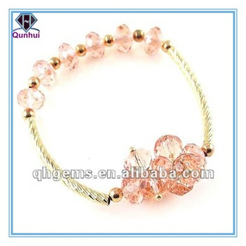 2012 Popular Bead Stretch Bracelet With Pink Gemstone