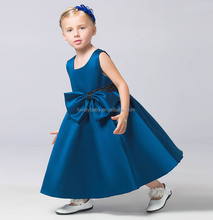 2015 vintage clothing dress navy blue knee length dress child sleeveless dress