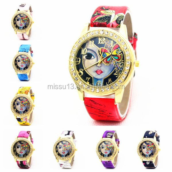 lady watch 2016 latest New style Women Rhinestone dial flower butterfly leather vogue watch