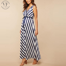 New fashion stripe one piece casual maternity dresses