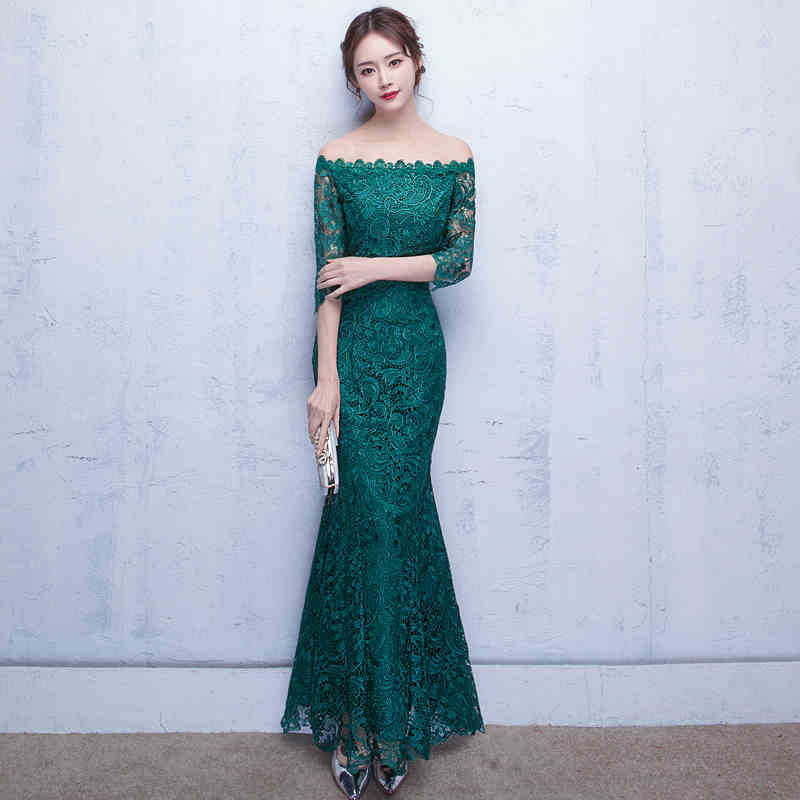 2017 wholesale lace long sleeve evening dress SSP-LF208