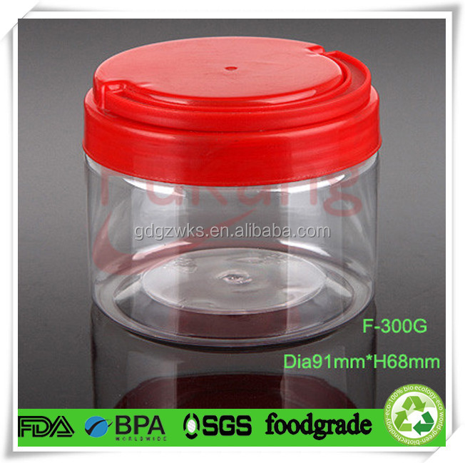 300ml PET clear plastic cake round container,wholesale wide mouth plastc cookies jar with red color plastic handle cap