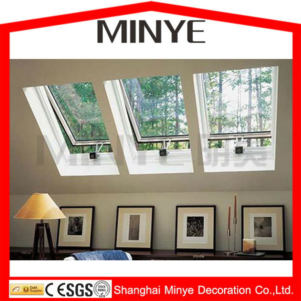 aluminum frame slope roof hung opening skylight with chain winder