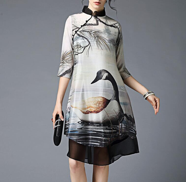<strong>M109</strong> D.Y fashion ladies summer real silk irregular half sleeve animal print floral print dress