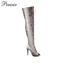 New Fashion lace up and zipprt thigh high walmart boots women snakeskin boots